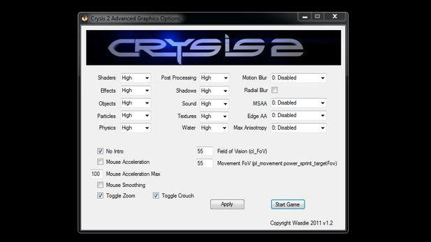 Das Programm »Crysis 2 Advanced Graphics Options« ermöglicht grafische Feinabstimmung.