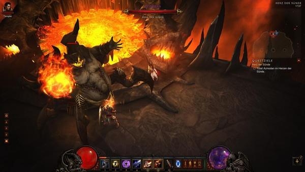 Diablo 3 - Komplettlösung : Der beleibte Azmodan ist der Kommandant der brennenden Höllen und der Herrscher über das Gebiet des Herz der Sünde.