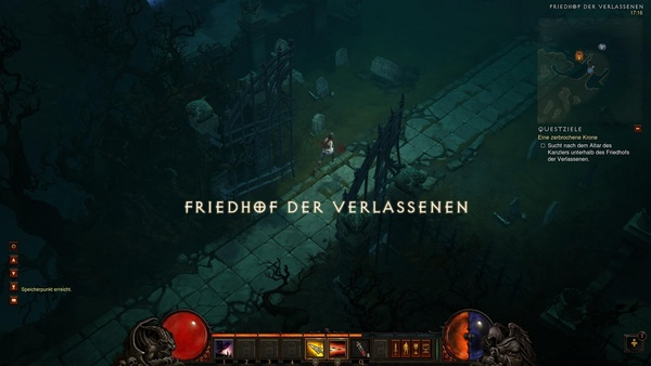 Diablo 3 - Komplettlösung : Auf dem Friedhof der Verlassenen suchen wir nach Leorics Krone.