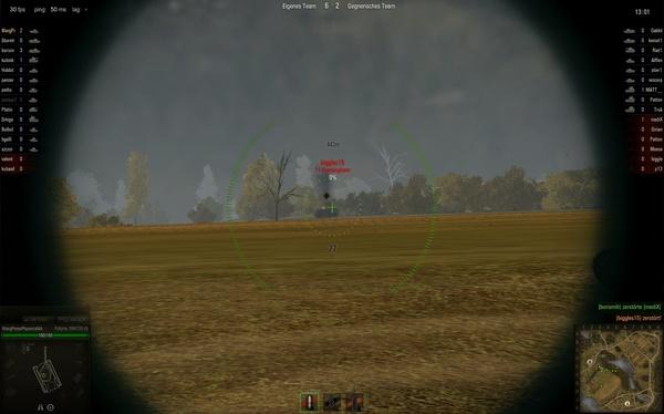 World of Tanks : Die ballistische Kurve ist minimal, diesen Feind haben wir mit einem Tier-2-Panzer auf 443 Meter Entfernung zielsicher vernichtet ohne höher zu zielen.