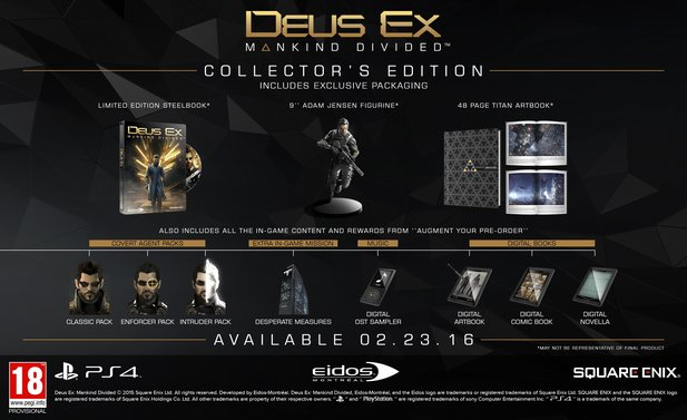 Deus Ex: Mankind Divided - Die Collector's Edition beinhaltet alle Vorbesteller-Boni plus Artbook und Statue.
