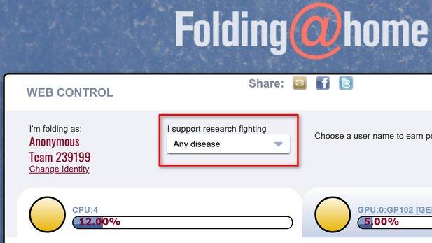 """Noch gibt es bei Folding@home keine eigene Einstellung für das Corona-Virus, stattdessen müsst ihr """"Any Disease"""" auswählen (in diesem Fall über das Web-Interface), um euch an entsprechenden Projekten zu beteiligen."""