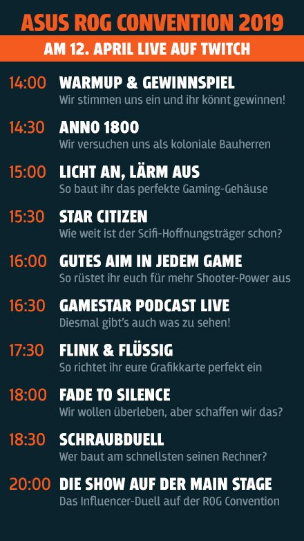 Unser Streaming-Programm von der ROG Convention 2019!