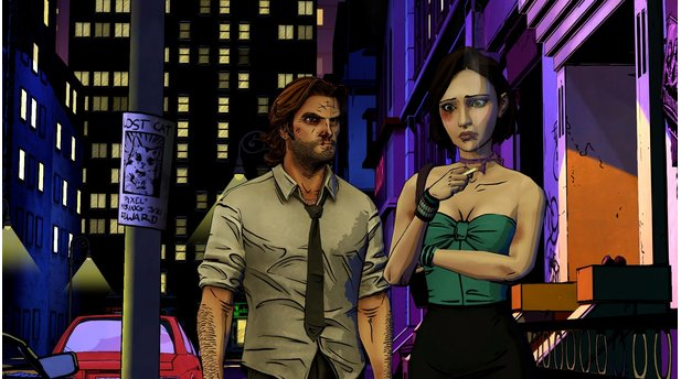 <b>The Wolf Among Us</b><br>Im direkten Vergleich mit The Walking Dead präsentiert sich The Wolf Among Us meist deutlich farbenfroher und setzt mit Schwarzflächen sowie Neonfarben neue Akzente.