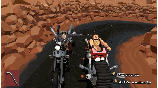 <b>Full Throttle Remastered</b><br>Nettes Easteregg bei der Mopped-Actionsequenz: Unser Rivale hat ein Rebellen-Tattoo auf der Stirn.