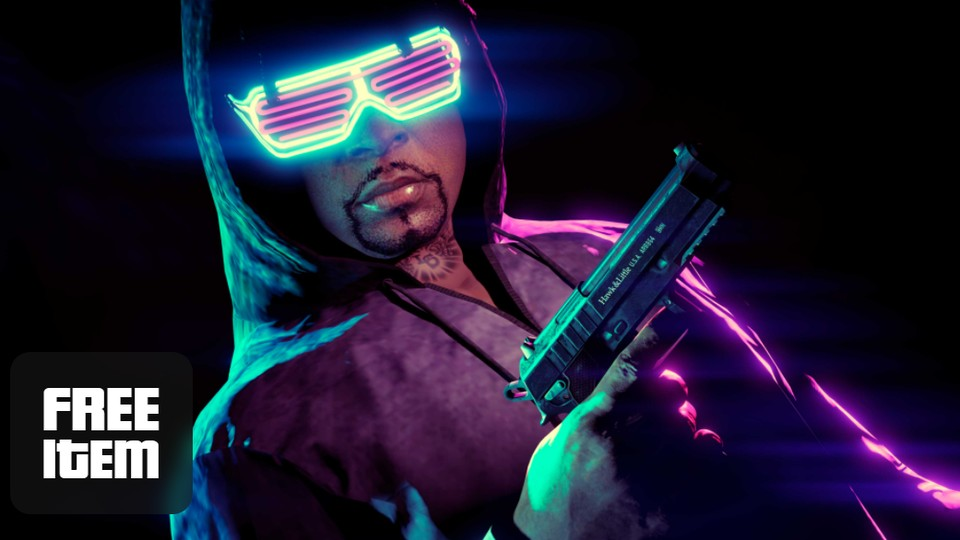 You will receive the glow stick goggles from your special vehicle warehouse when completing an import / export mission.