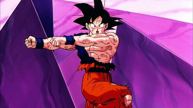 Son Goku tanzt den Fusions-Tanz in Dragon Ball.