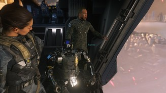 Call of Duty: Infinite WarfareVon links nach rechts: Kollegin Salt(er), der Roboter Ethan und unser Boss Raines.