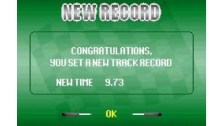 If you set a new track record, it is shown after the race