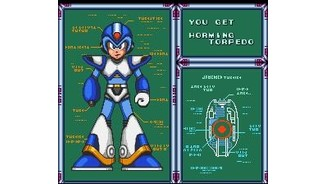 Mega Man receiving a new weapon