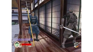 In a new single player stage, Samurai Mansion, Rikimaru looks around a corner waiting for an oppurtunity to sneak past the spear-carrying samurai.