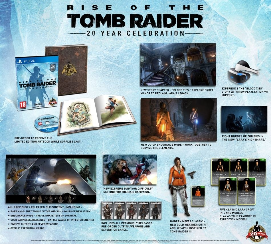 Inhalte der 20 Year Celebration Edition von Rise of the Tomb Raider.